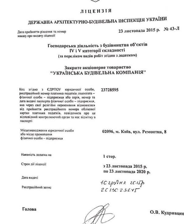 Лицензия на строительные работы