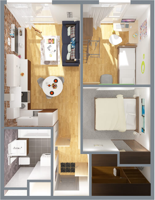 двухкомнатная квартира студия